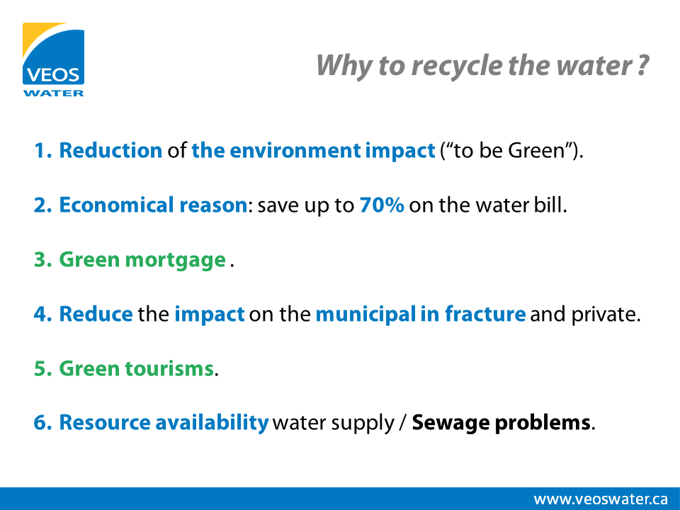 Give me 6 good reasons to recycle water !